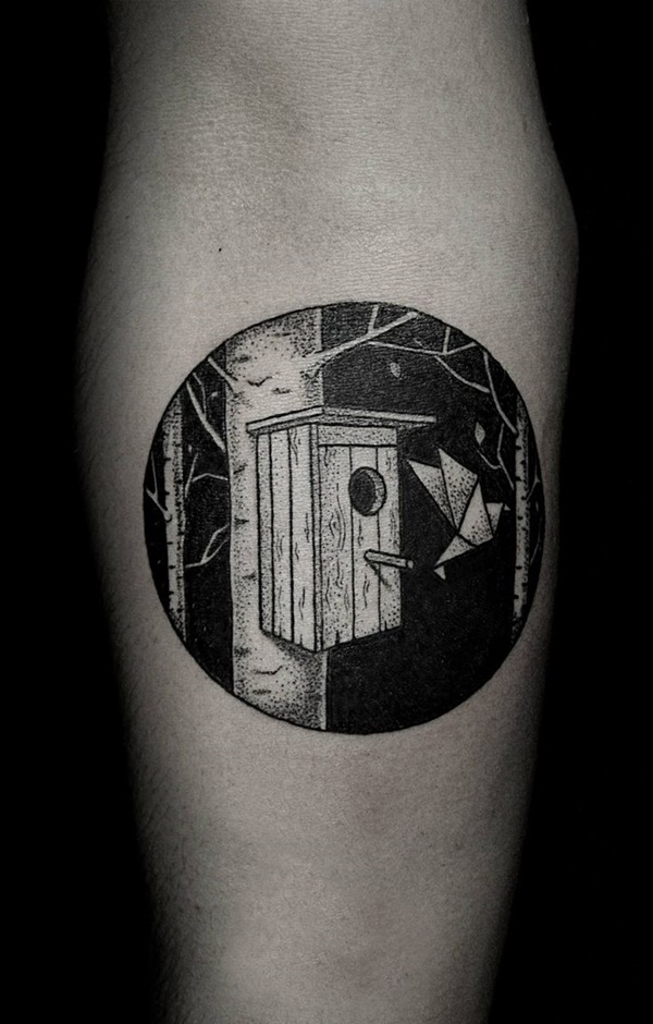 Black Ink Bird House Circle Tattoo On Arm