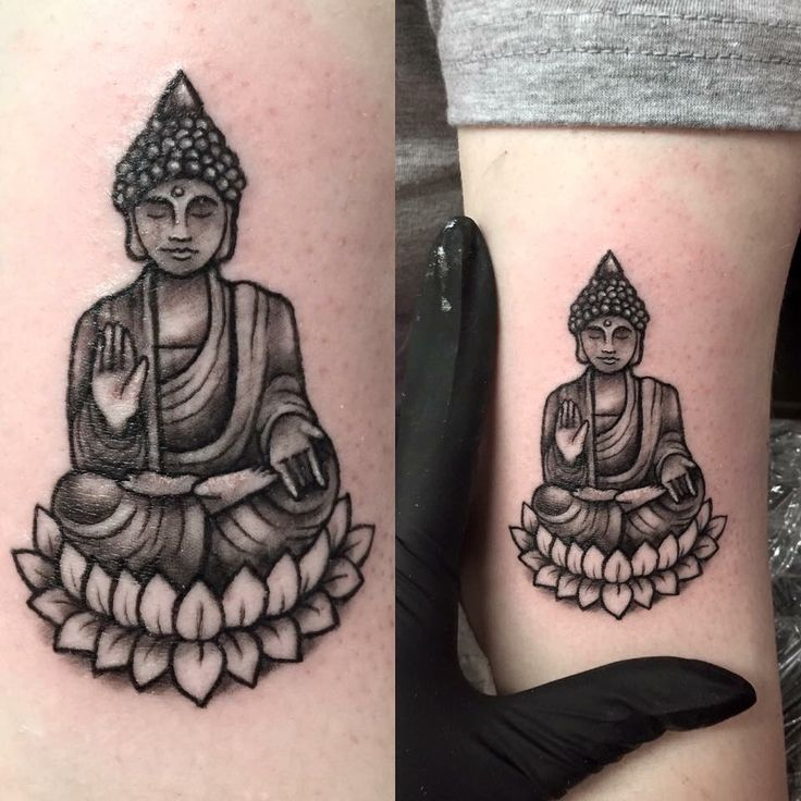 Black Ink Buddha Sitting On Lotus Flower Tattoo On Sleeve