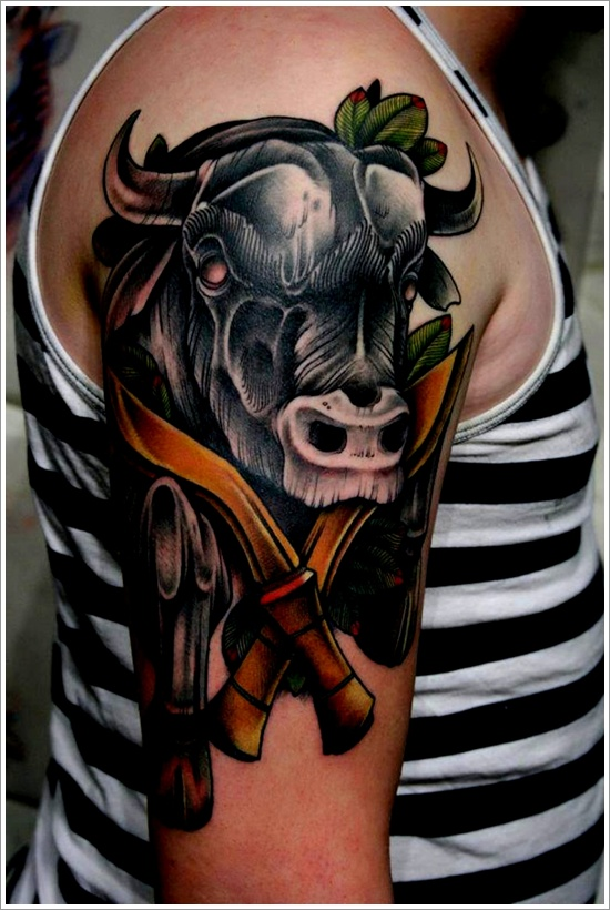 Black Ink Bull And Cross Dagger Tattoo On Men Shoulder