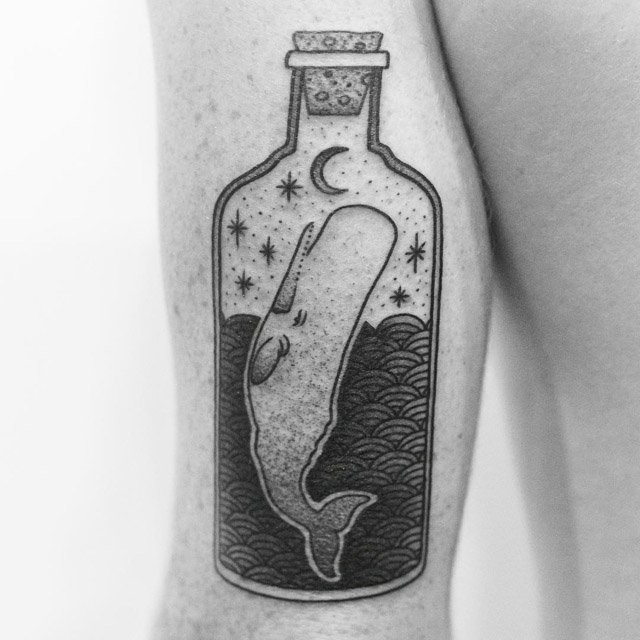 Black Ink Dotted Artwork Of Bottle Whale Tattoo On Back Sleeve