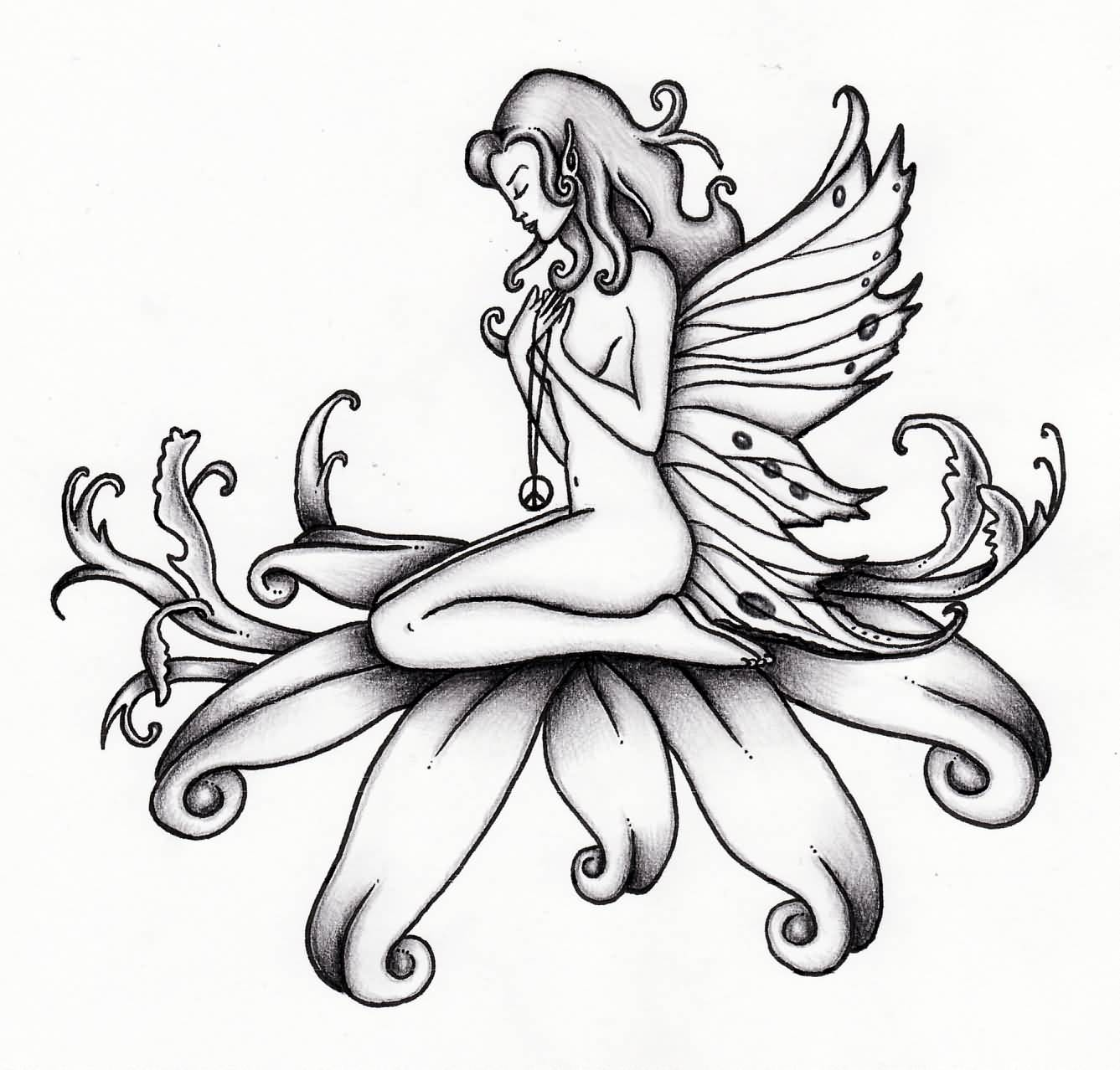 Black Ink Fairies Tattoo Outline Design