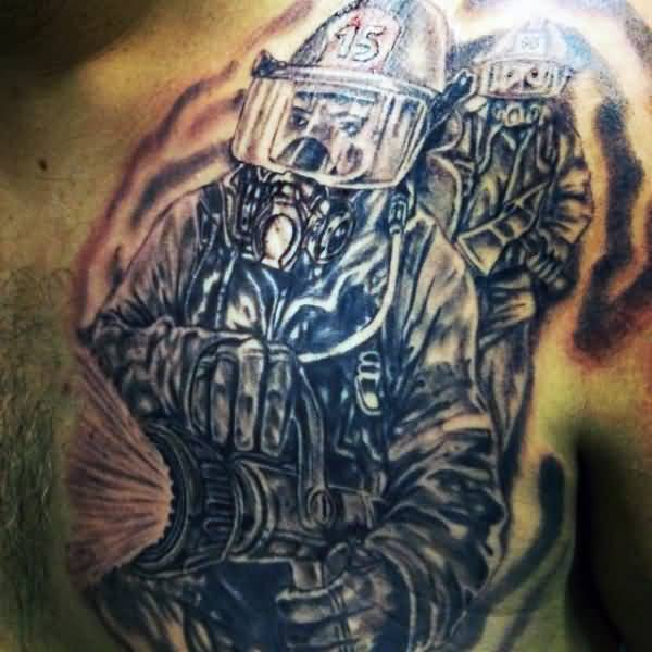 Black Ink Firefighter Tattoo On Men Chest