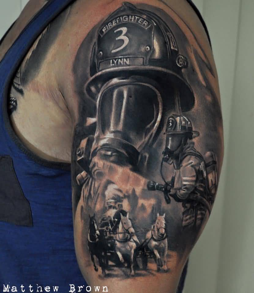 Black Ink Firefighter With Gas Mask Tattoo On Shoulder