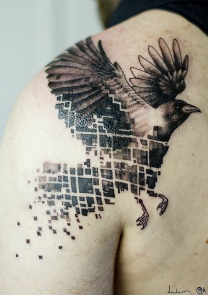 Black Ink Flying Crow Pixel Tattoo On Bck Shoulder
