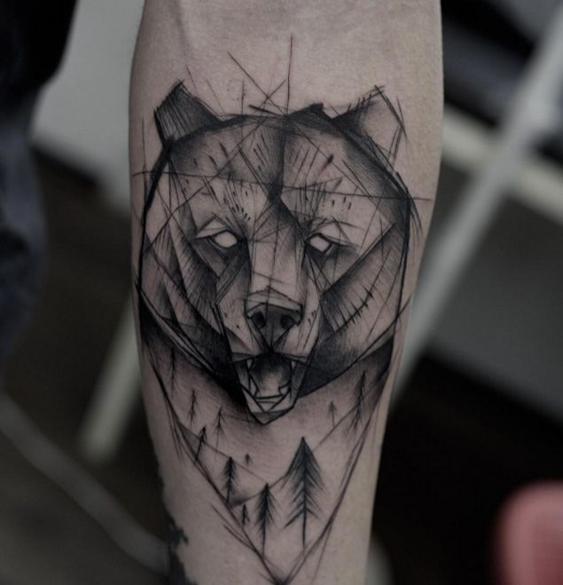Black Ink Impressive Bear Head Tattoo Made On Sleeve