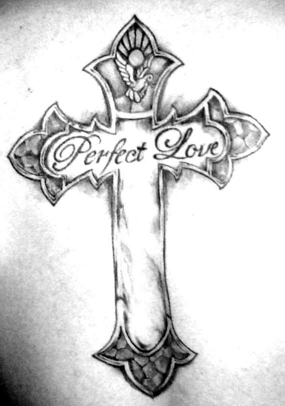 Black Ink Lovely Holy Cross Perfect Love Tattoo Design