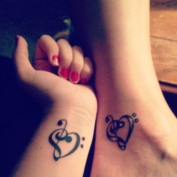 Black Ink Similar Tattoo Design On Couple Wrist And Ankle
