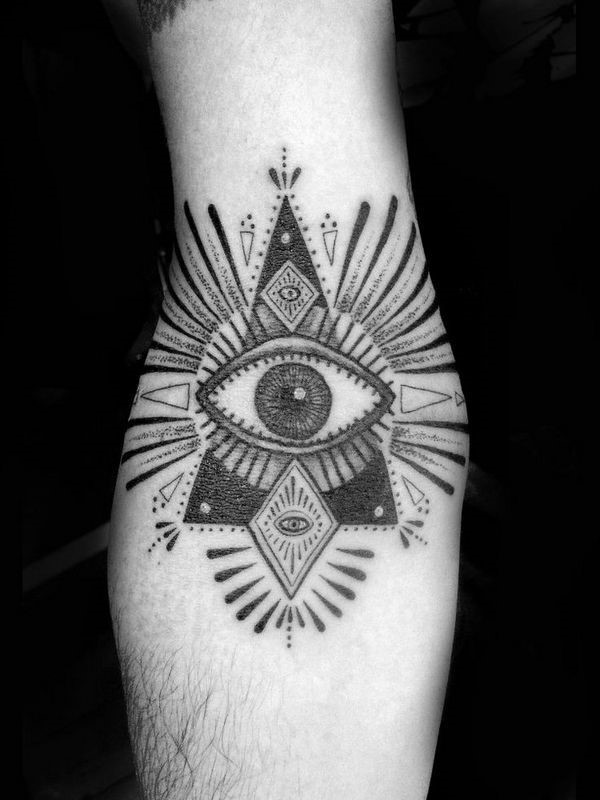 Black Ink Third Eye Egyptian Tattoo On Elbow