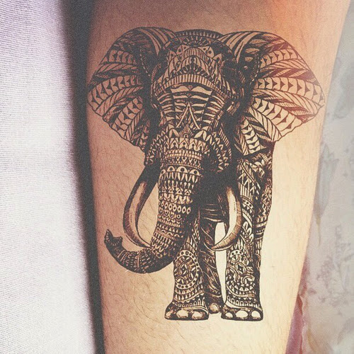 Black Ink Traditional Elephant Tattoo Design On Leg