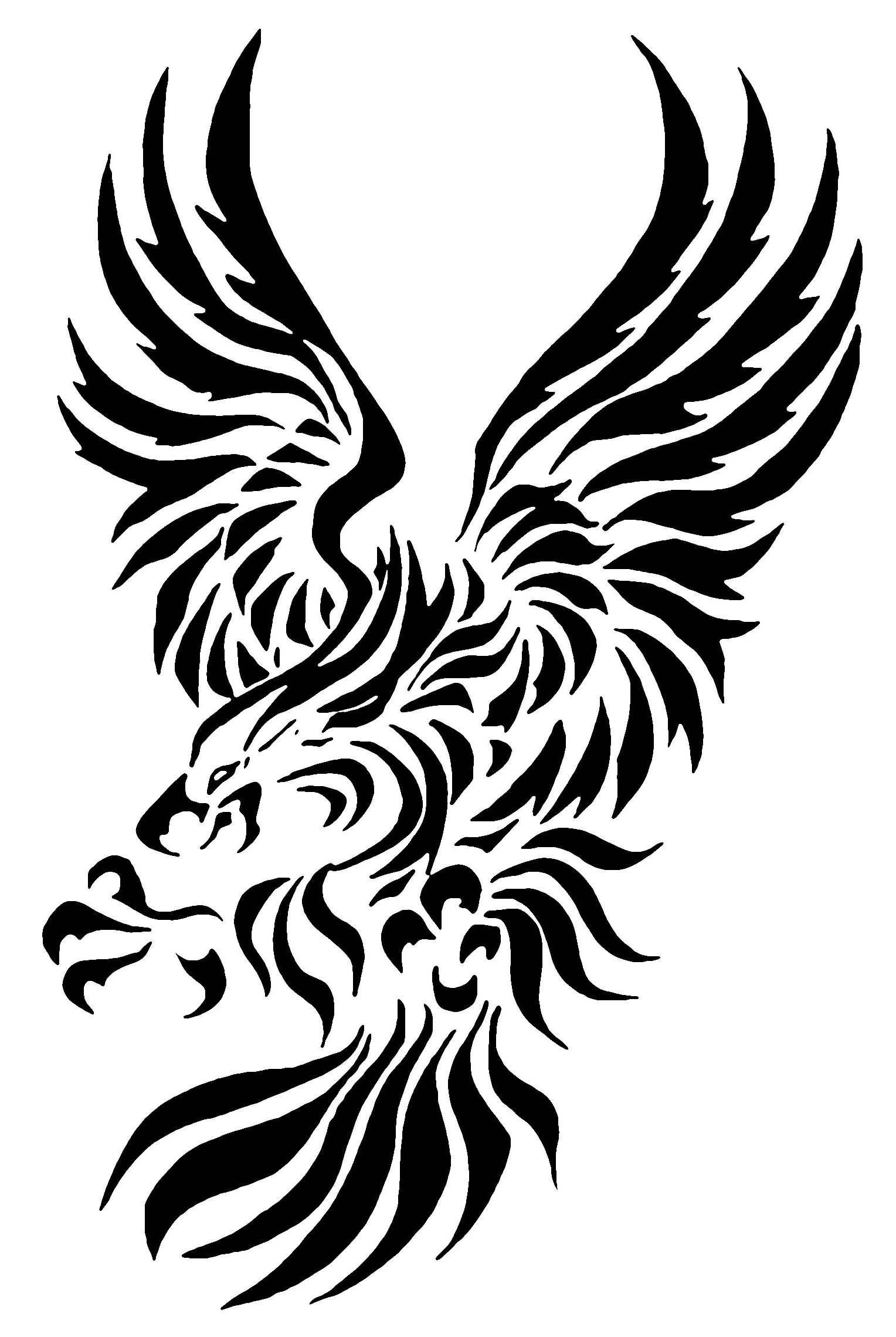 Black Ink Tribal Eagle Tattoo Design On Paper