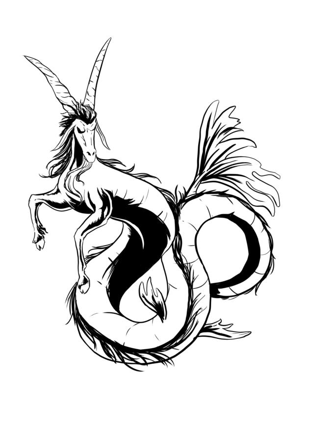 Black Ink Zodiac Capricorn Tattoo Stencil Design