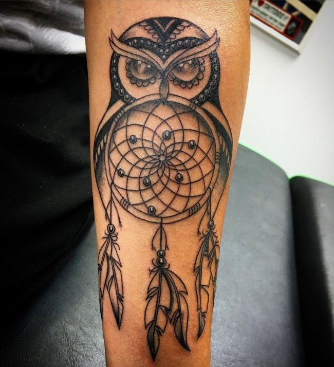 Black Ink owl And Dream Catcher Tattoo On Men Sleeve