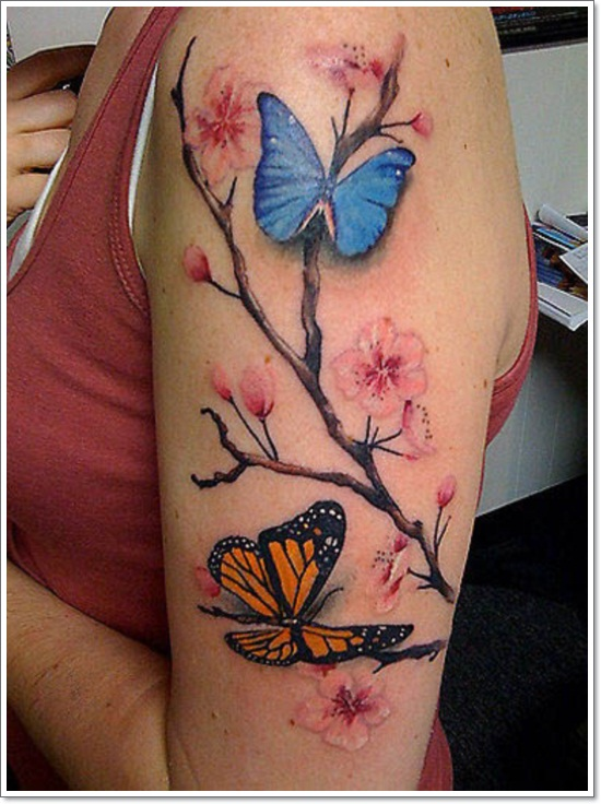 Blue Butterfly And Cherry Flower Tattoo On Girl Sleeve