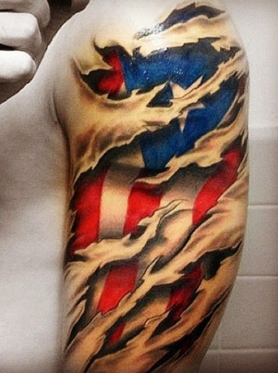 Brilliant 3D American Flag and Ripped Shoulder Tattoo Design