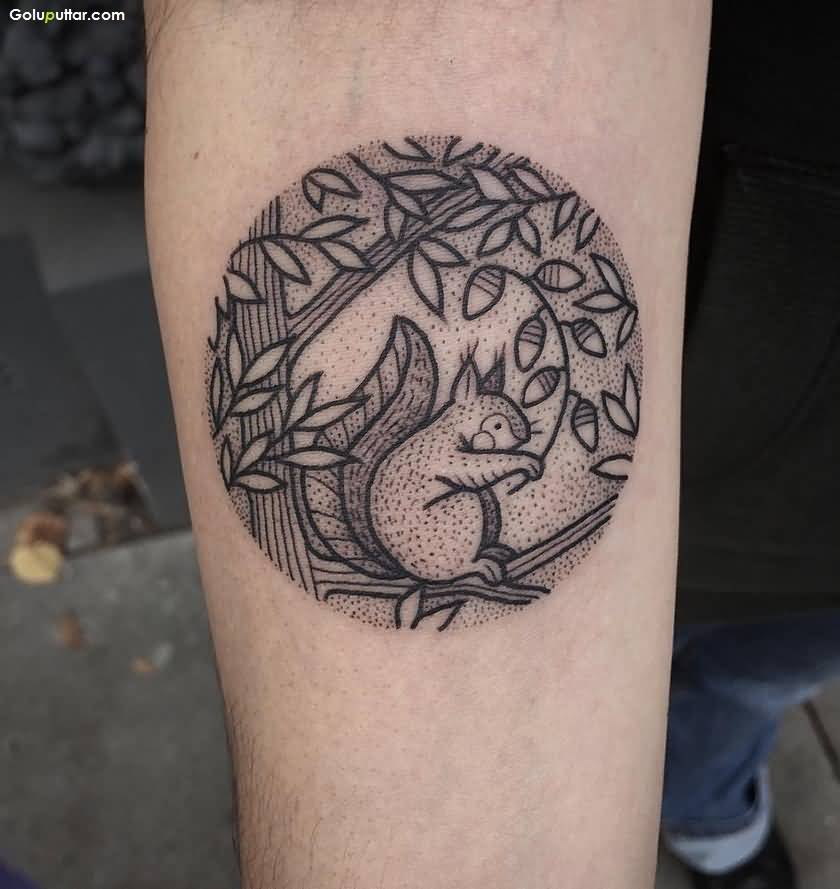 Brilliant Cricle Arm Tattoo Of Squirrel And Tree