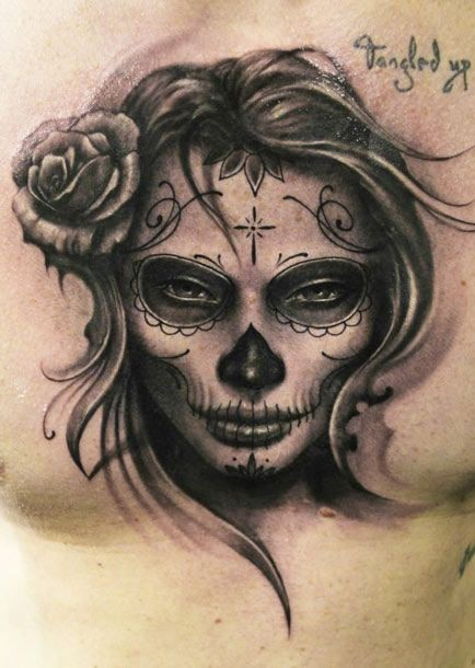 Brilliant Dia De Los Muertos And Rose Tattoo On Men Chest