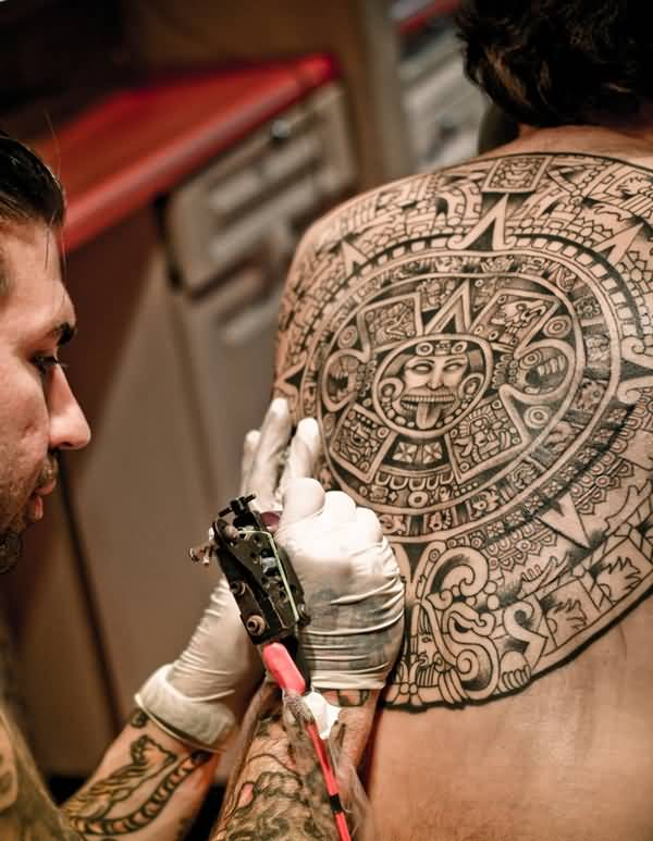 Brilliant Grey Ink Aztec Tattoo Design For Men Back