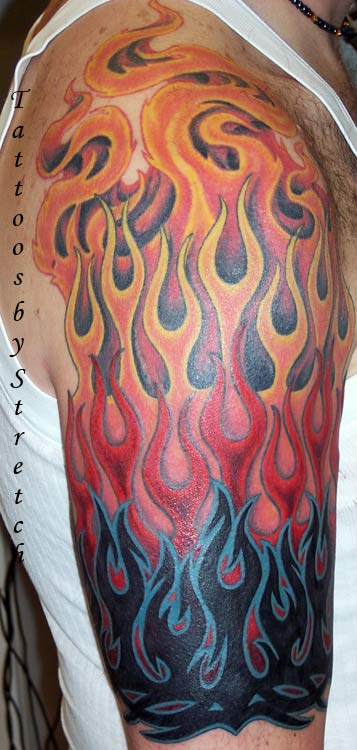 Colorful 3d Fire n Flame Tattoo On Men Shoulder