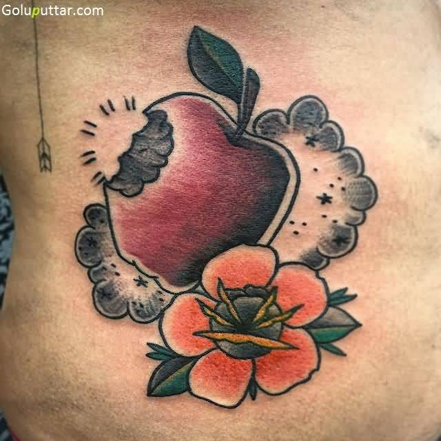 Colorful Animated Bitten Apple And Flower Tattoo