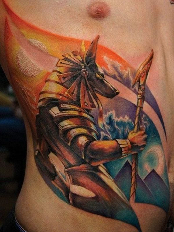 Colorful Animated Egyptian Tattoo On Men Ribs
