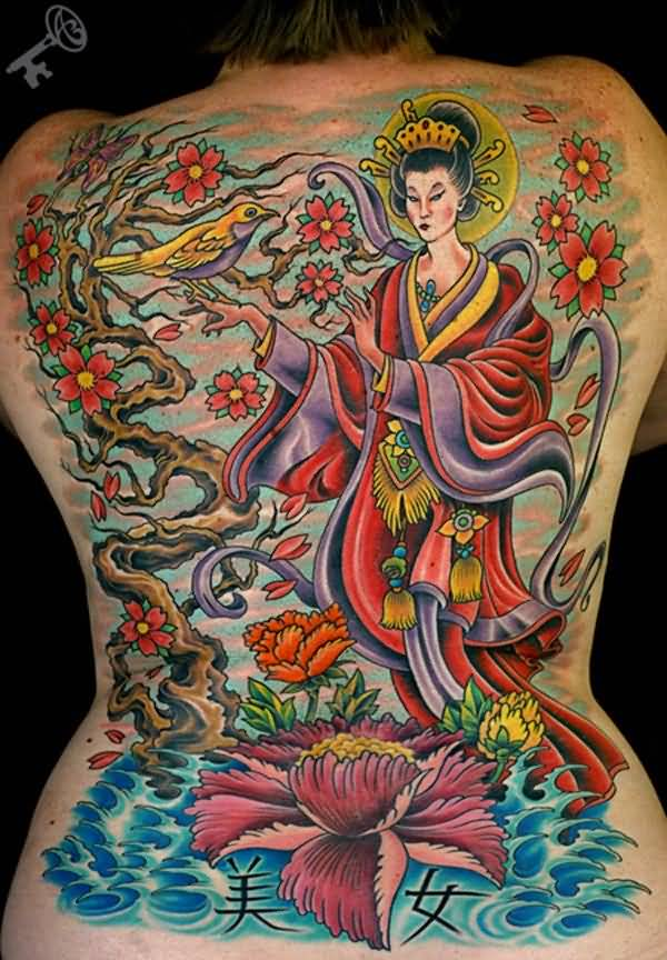 Colorful Asian Girl Tattoo On Full Back With Lotus Flower