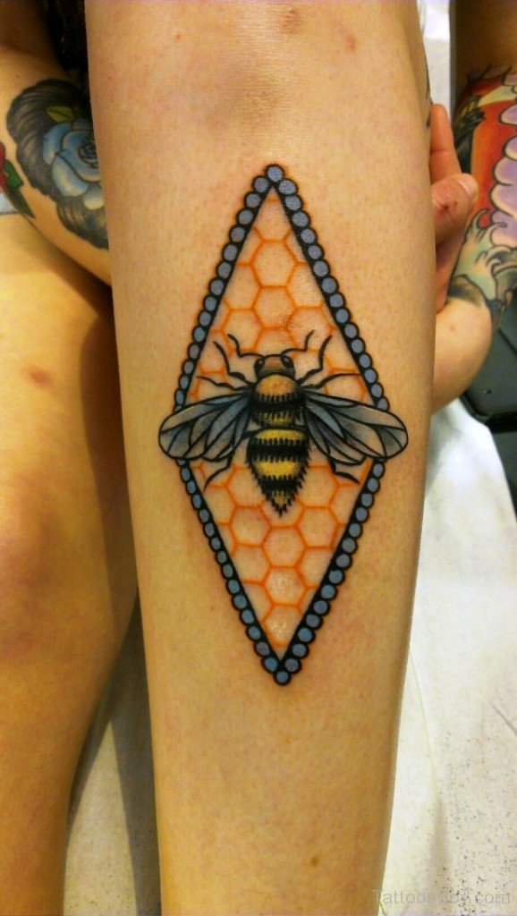 Colorful Bumblebee Tattoo Design For Girl Sleeve