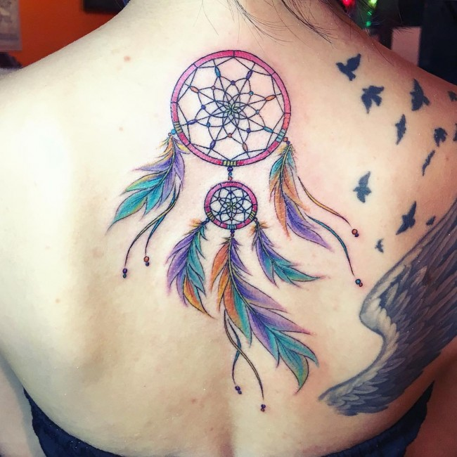 Colorful Cool Dream Catcher Tattoo On Women Back