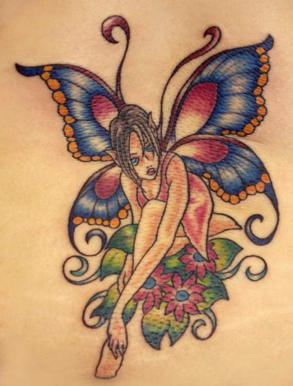 Colorful Fairies And Fower Tattoo Design For Girls
