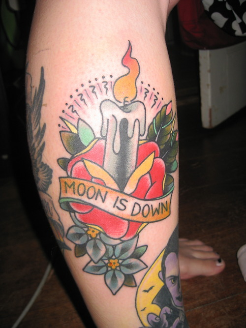 Colorful Fantastic Rose Candle And Banner Tattoo On Leg