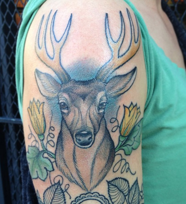 Colorful Wild Deer Animal Tattoo On Men Shoulder