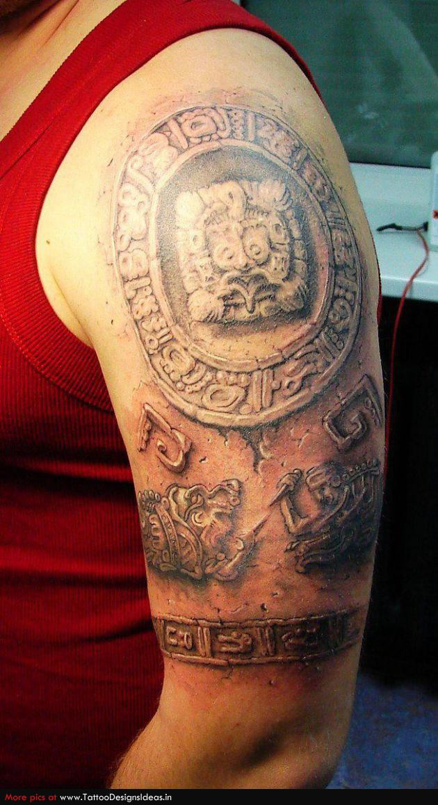 Cool 3d Aztec Stone Tattoo Made On Men Shoulder