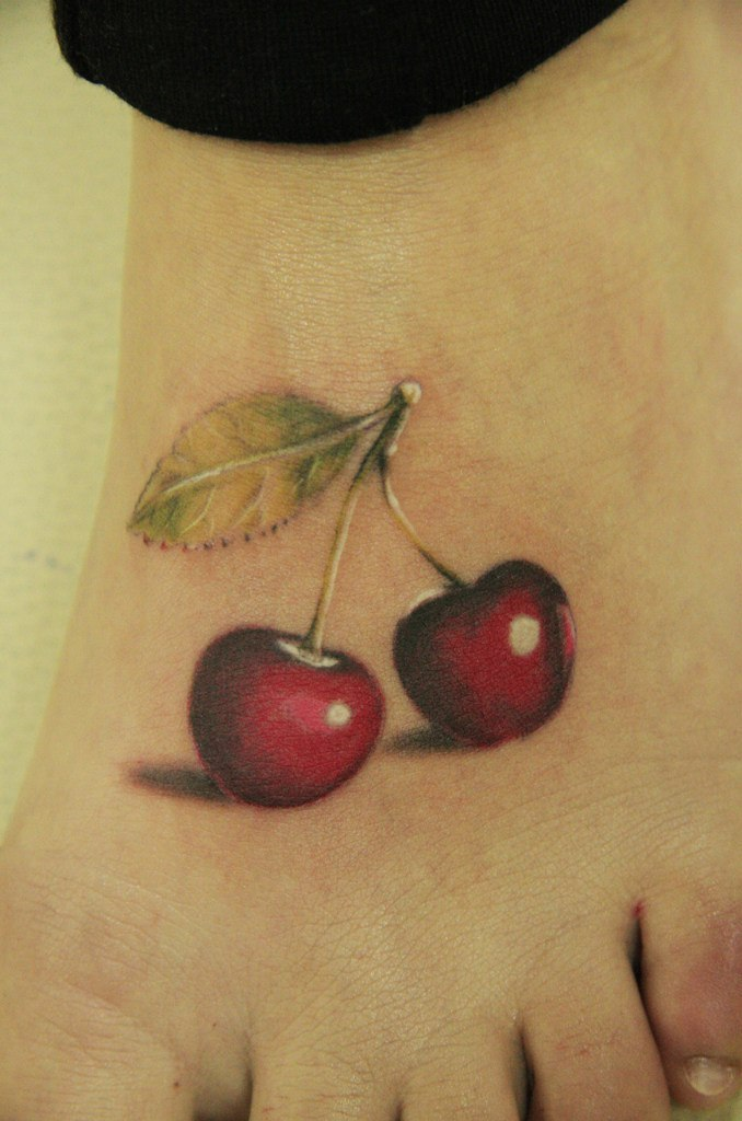 Cool 3d Red Cherry Tattoo On Feet