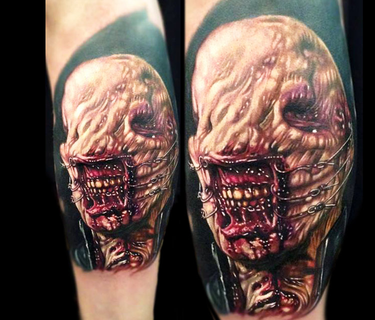 Cool 3d Weird Demon Face Tattoo On Forearm