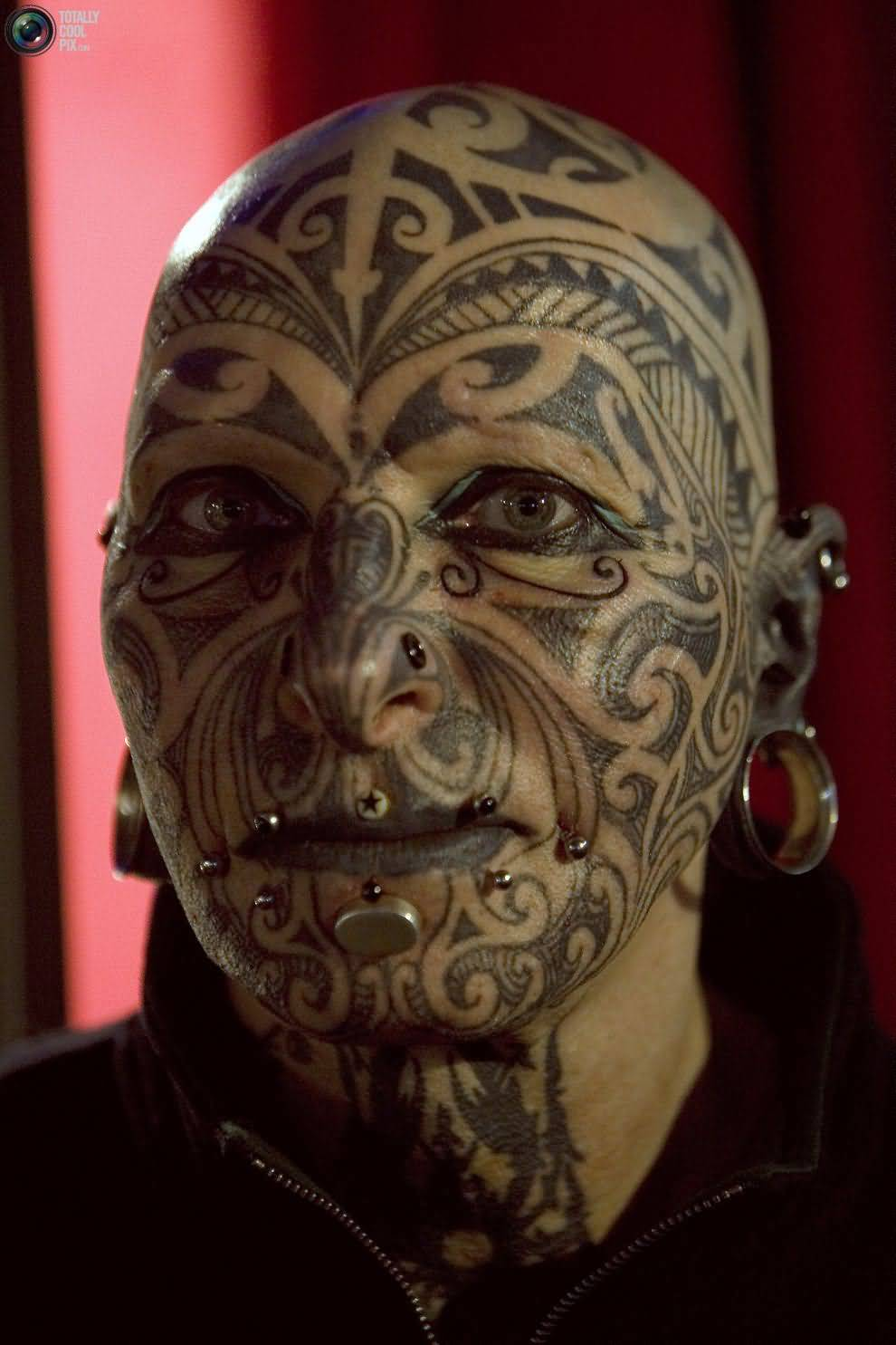 Cool Tribal Maori Extreme Face Tattoo For Girls