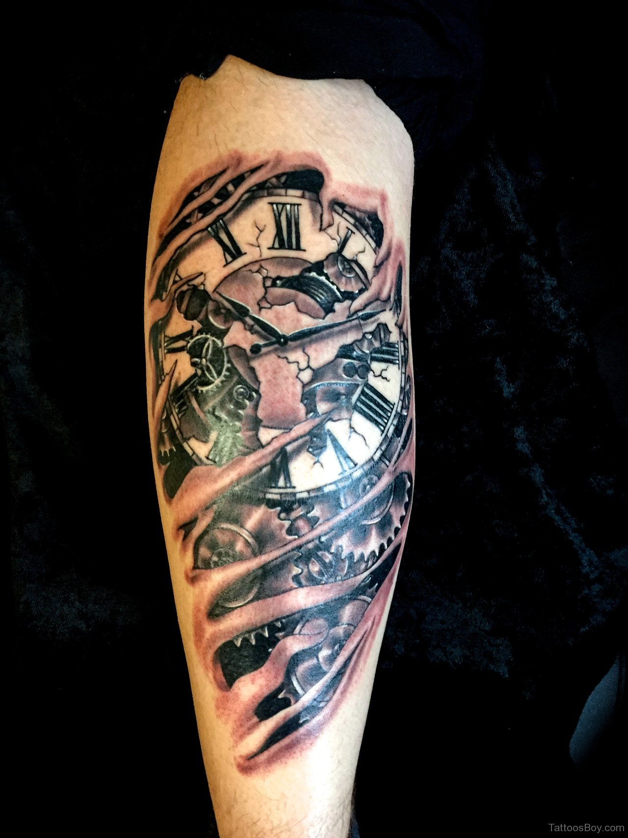 Coolest 3D Broken Clock Tattoo Made On Back Leg
