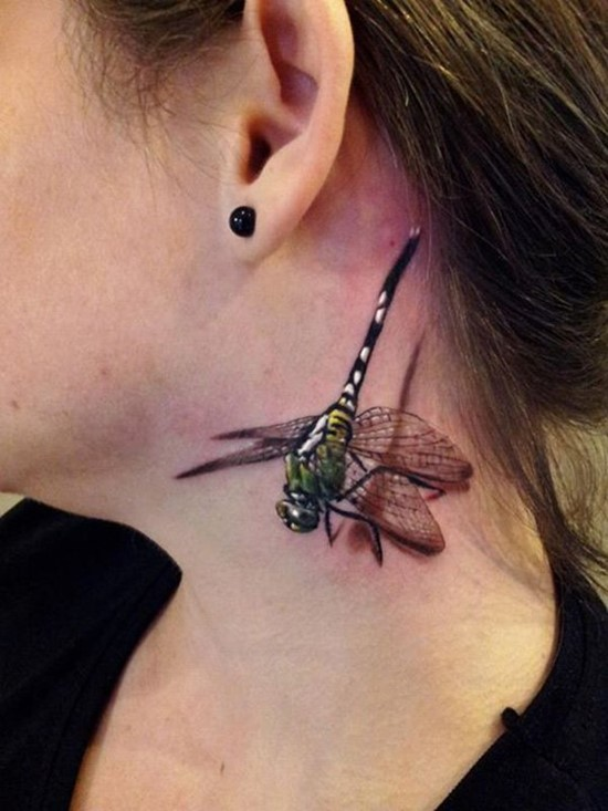 Coolest 3d Dragonfly Tattoo On Girl Neck