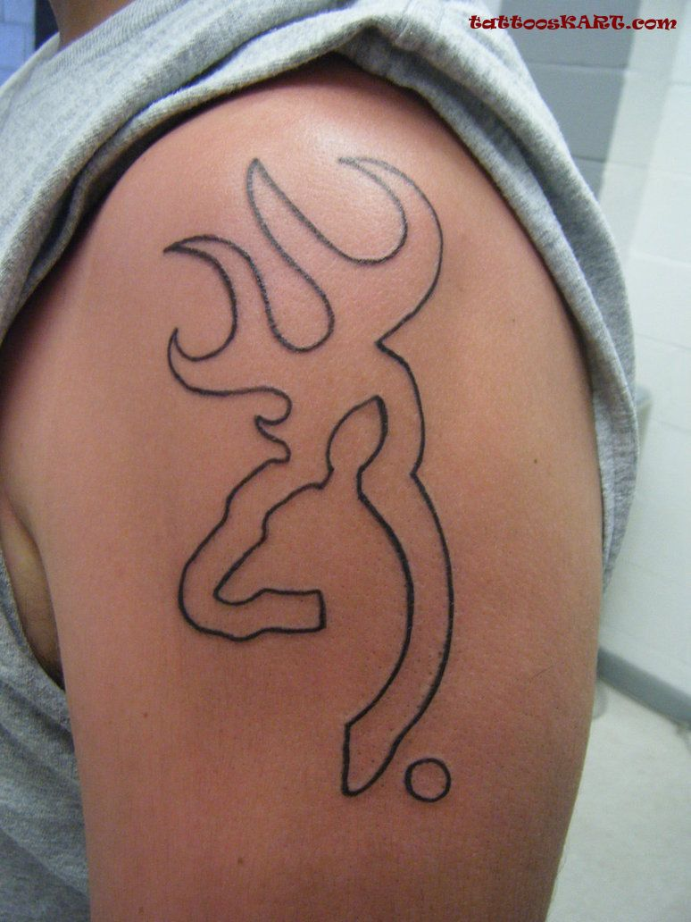 Coolest Country Sign Outline Tattoo On Men Shoulder