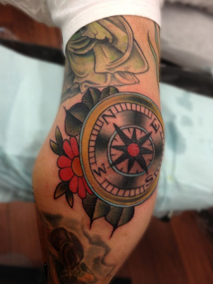 Coolest Elbow Compass Tattoo Design Idea For Men