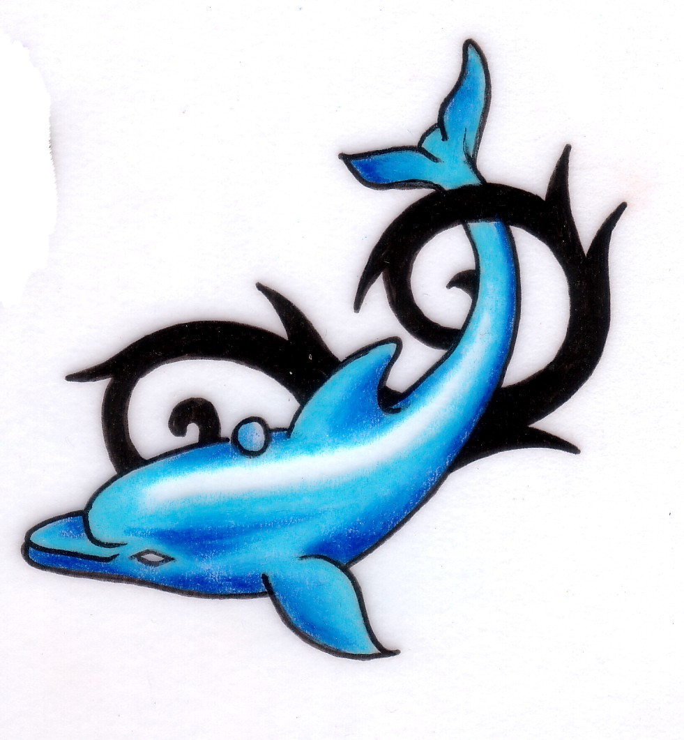 Coolest Tribal Blue Dolphin Tattoo Design Stencil