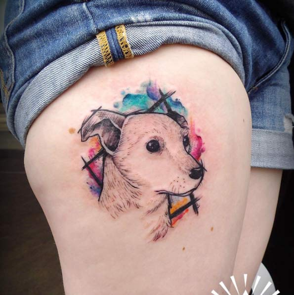 Cute Animated Dog Face Tattoo For Girl Thigh