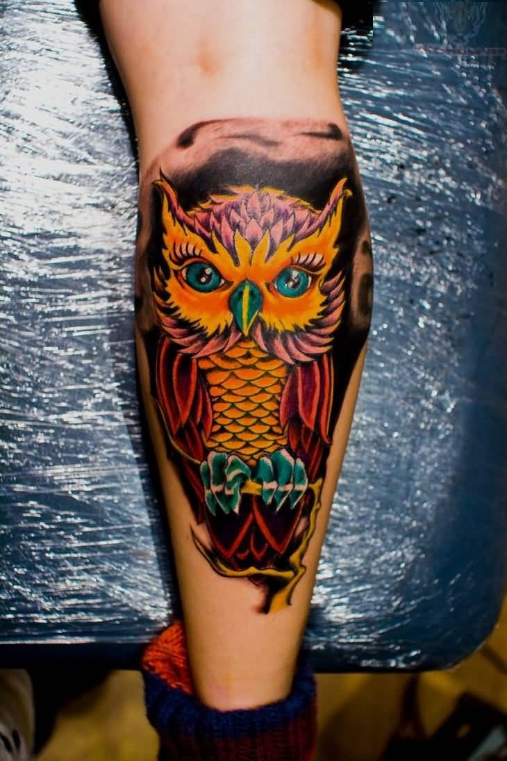 Cute Animated Owl Tattoo On Calf