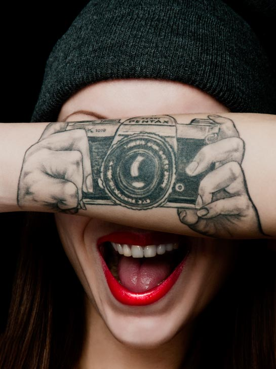 Cute Girl With Amazing 3d Camera Tattoo On Forearm