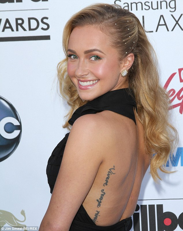 Cute Hayden Panettierre Shows Text Tattoo On Back Body