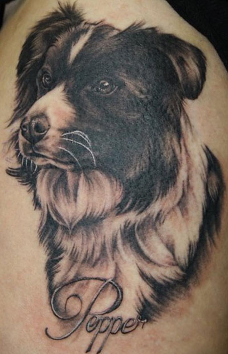 Cutest Dog Head Tattoo On Girl Thigh