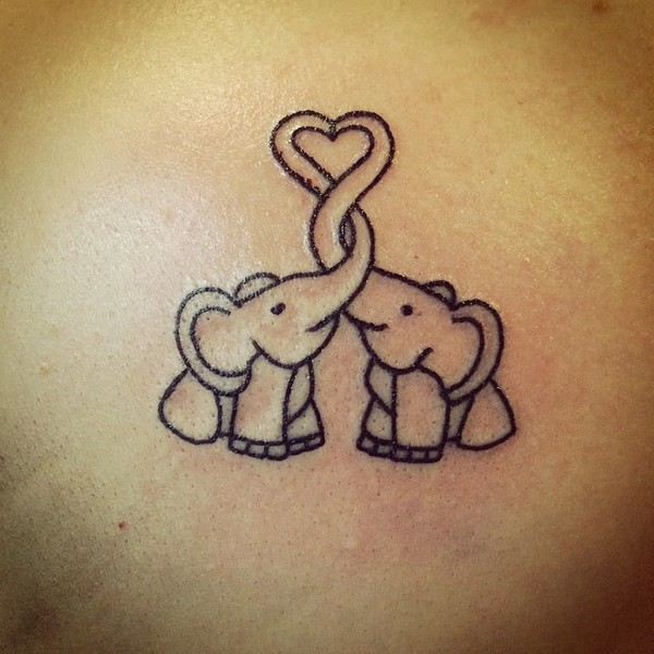 Cutest Elephant Love Tattoo Design Made On Back