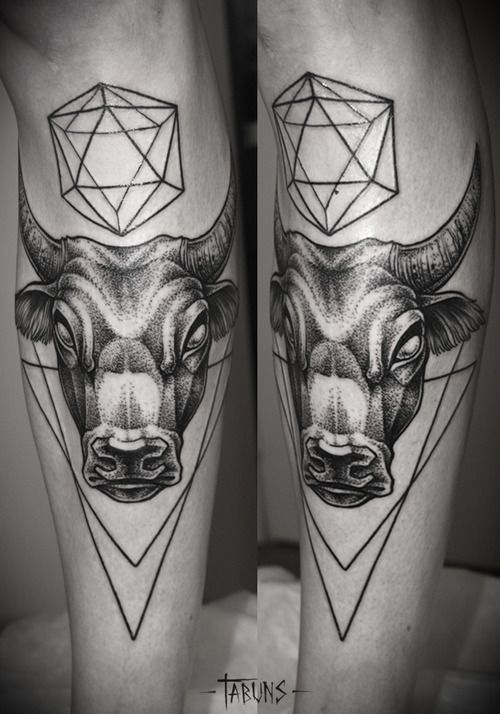 Dot Work Bull Tattoo Design Idea For Men Sleeve