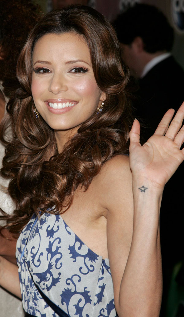 Famous Celebrity Eva Longoria With Small Star Tattoo On Wrist