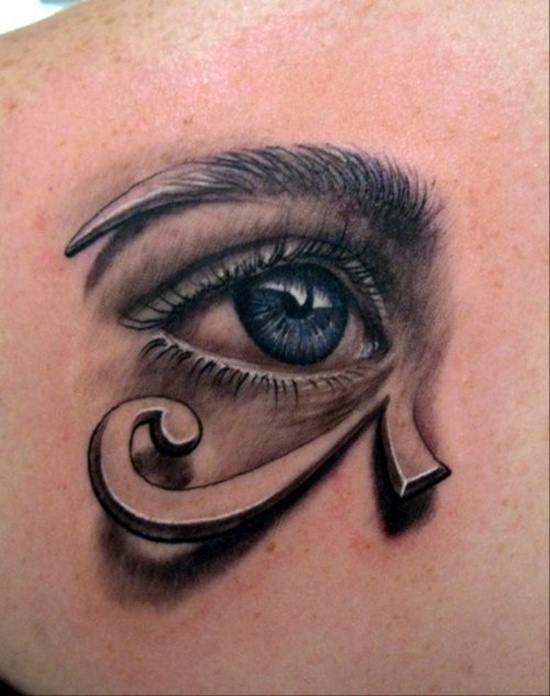 Fantastic 3d Eye Tattoo Design On Men Upper Back