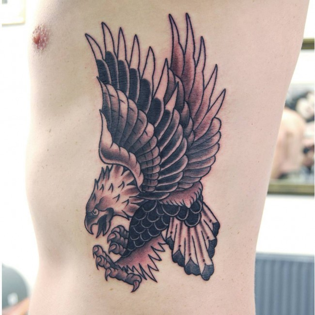 Fantastic Flying Eagle Tattoo On Men Ribs