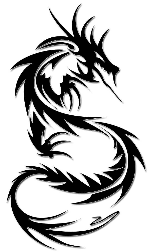 Funky Dragon Tattoo Design Stencil On Paper